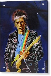 Acrylic Print featuring the painting Keith Richards Of Rolling Stones by Thomas J Herring
