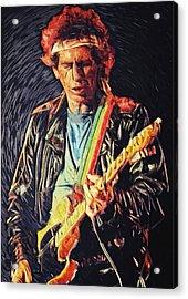Keith Richards Acrylic Print by Taylan Apukovska