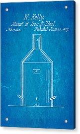 Kelly Iron And Steel Patent Art 1857 Blueprint Acrylic Print