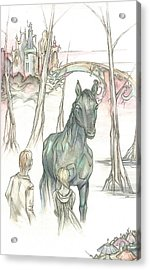 Kelpie Encounter Acrylic Print by Danielle Sobol