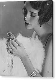 Kendall Lee Holding A Pearl Necklace Acrylic Print