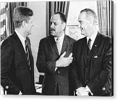 Kennedy, Johnson And Khan Talk Acrylic Print by Underwood Archives