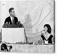 Kennedy Speaks At Fundraiser Acrylic Print by Underwood Archives
