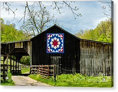 Kentucky Barn Quilt - Carpenters Wheel Acrylic Print by Mary Carol Story