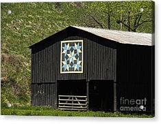 Kentucky Barn Quilt - Snow Crystals Acrylic Print by Mary Carol Story