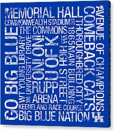 Kentucky College Colors Subway Art Acrylic Print by Replay Photos