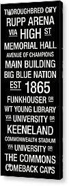 Kentucky College Town Wall Art Acrylic Print