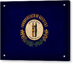 Kentucky State Flag Art On Worn Canvas Acrylic Print by Design Turnpike