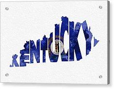 Kentucky Typographic Map Flag Acrylic Print by Ayse Deniz