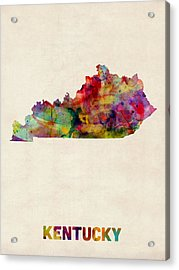 Kentucky Watercolor Map Acrylic Print