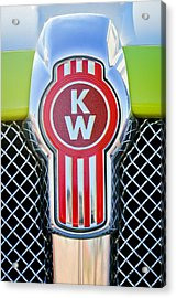 Acrylic Print featuring the photograph Kenworth Truck Emblem -1196c by Jill Reger