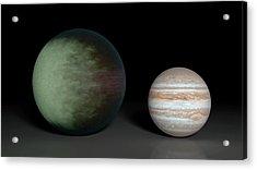 Kepler-7b And Jupiter Acrylic Print by Nasa/jpl-caltech/mit