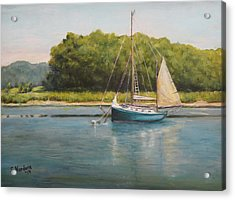 Acrylic Print featuring the painting Ketch At Anchor by Sandra Nardone