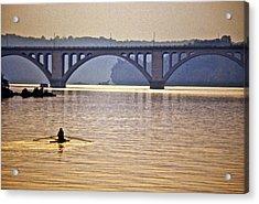 Key Bridge Rower Acrylic Print by Stuart Litoff