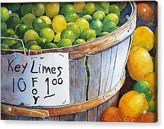 Acrylic Print featuring the painting Key Limes Ten For A Dollar by Roger Rockefeller