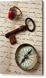 Key Ring And Compass Acrylic Print by Garry Gay