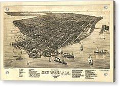 Key West Florida Map 1884 Acrylic Print by Daniel Hagerman