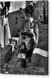 Key West Scooter Bw Acrylic Print by Mel Steinhauer