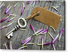 Key With A Label Acrylic Print by Aged Pixel