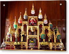 Khon Masks Is Situated On The Set Of Altar Table Acrylic Print by Tosporn Preede