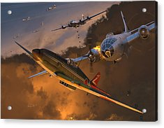 Ki-61 Hien Vs. B-29s Acrylic Print by Robert Perry