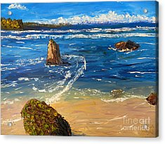 Acrylic Print featuring the painting Kiama Beach by Pamela  Meredith