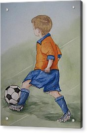 Kick N It ....boy And Soccer Acrylic Print