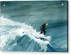 Kid Riding Wave Acrylic Print
