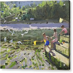 Kids And Seagulls Acrylic Print by Andrew Macara