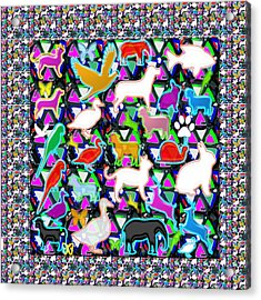 Kids Count The Birds Butterflies N Animals Circle Artistic Navin Joshi Rights Managed Images Graphic Acrylic Print by Navin Joshi