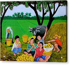 Kids Eating Mangoes Acrylic Print