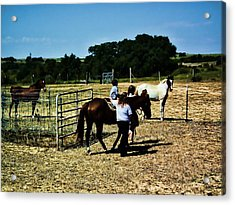 Acrylic Print featuring the digital art 'kids Horse Heaven Paint' by Robert Rhoads