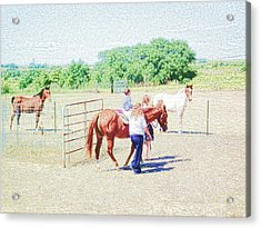 Acrylic Print featuring the digital art 'kids Horse Heaven' by Robert Rhoads