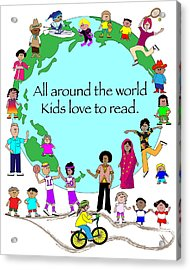 Kids Love To Read Acrylic Print by Chris Morningforest