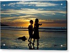 Kids On The Beach Acrylic Print by Terry Thomas