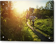 Kids Running In Nature. Acrylic Print by Imgorthand