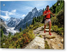 Kilian Jornet Training Above Montenvers Acrylic Print
