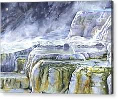 Killdeer Palisades - Mammoth Hot Springs Acrylic Print