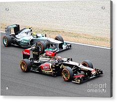 Kimi Raikkonen And Lewis Hamilton Acrylic Print