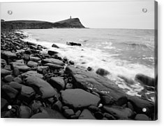 Kimmeridge Bay In Black And White Acrylic Print by Ian Middleton