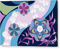 Kimono-inspired Summer Flowers By The River Acrylic Print