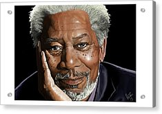 Kind Face Morgan Freeman Acrylic Print by Brien Miller