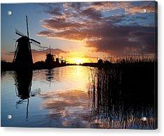 Kinderdijk Sunrise Acrylic Print by Dave Bowman