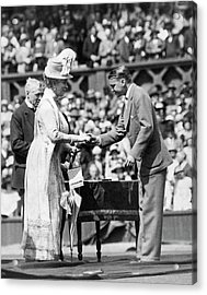 King And Queen At Wimbledon Acrylic Print by Underwood Archives