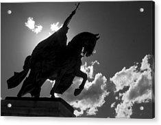 King Horseback Statue Black White Acrylic Print