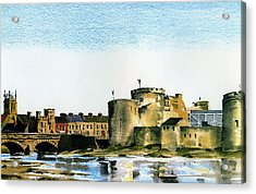 King Johns Castle Limerick Acrylic Print by Val Byrne