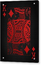 King Of Diamonds In Red On Black Canvas   Acrylic Print