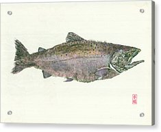 King Salmon Gyotaku Acrylic Print by Julia Tinker