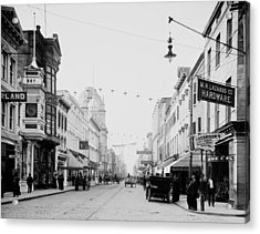 King Street In Charleston South Carolina Circa 1910 Acrylic Print by Mountain Dreams