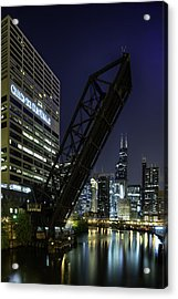 Kinzie Street Railroad Bridge At Night Acrylic Print by Sebastian Musial